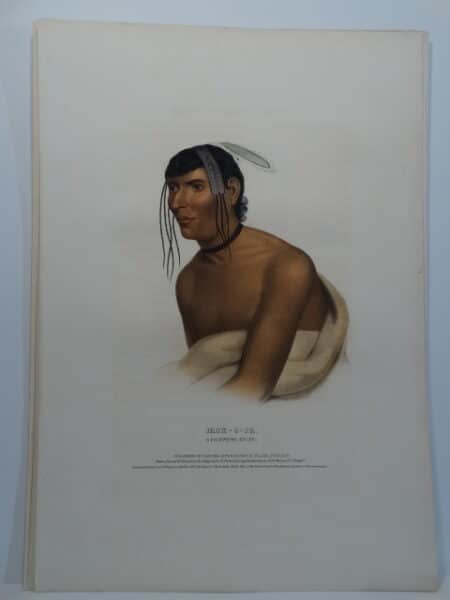 JACK-O-PA is a folio McKenney Hall lithograph of the Chippewa chief with feathers and Indian blanket.