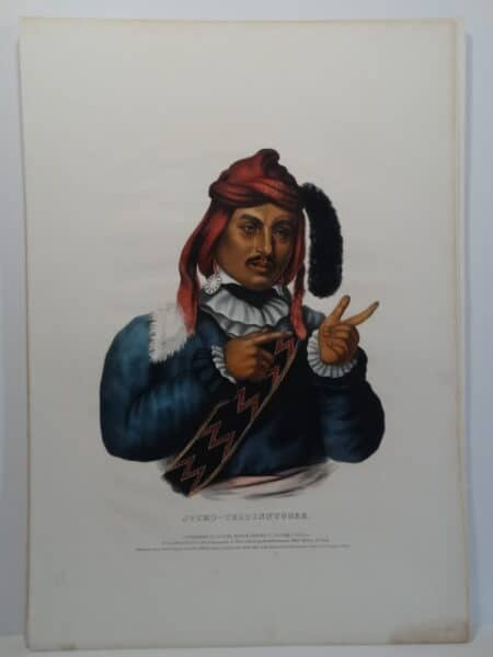 Seminole Indian of deer warrior. An 1843 hand-colored lithograph Philadelphia.