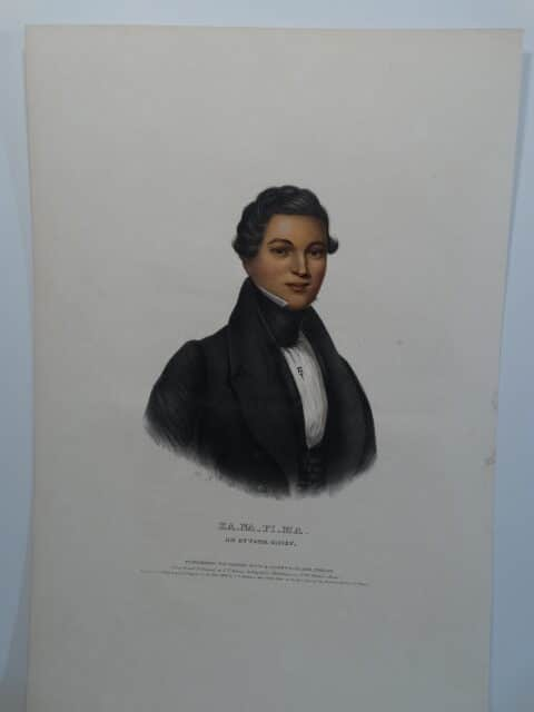 An 1842 hand colored lithograph of KA_NA_PI_MA, Chief of Ottawa Indians who signed away vast amounts of land to the United States.