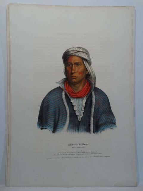 1843 hand colored folio lithograph. The portrait is of KEE-SHE-WAA a Fox Warrior.