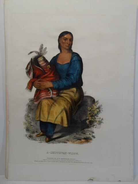 1836 hand colored lithograph of American Chippewa woman with child wrapped in blanket.