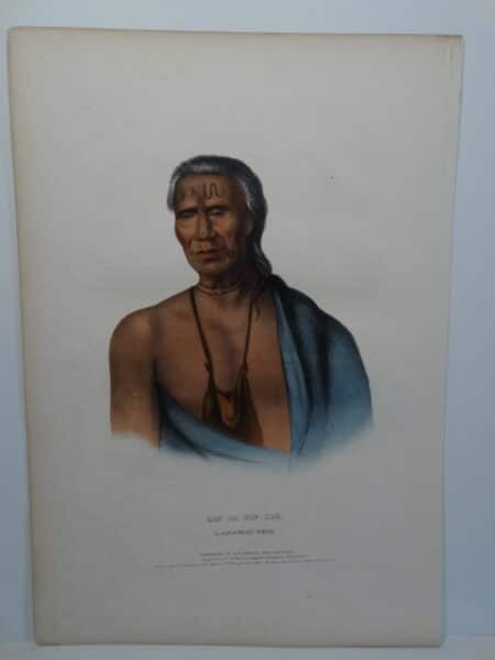 Antique folio lithograph, Biddle, Philadelphia of LAP-PA-WIN-SOE is an Indian Chief of Delaware.
