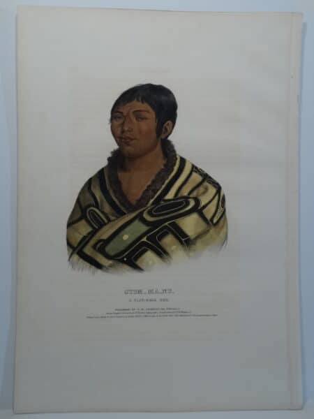 McKenney Hall Flat Head boy with Indian blanket, Montana. STUM_MA_NU folio lithograph