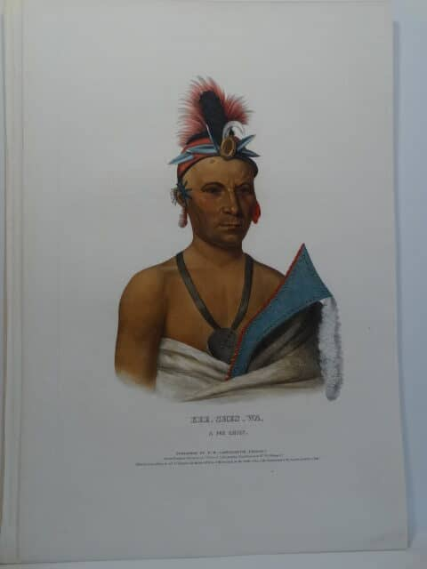 1838 folio American Indian antique lithographs of KEE SHES WA Fox chief with war club or axe.