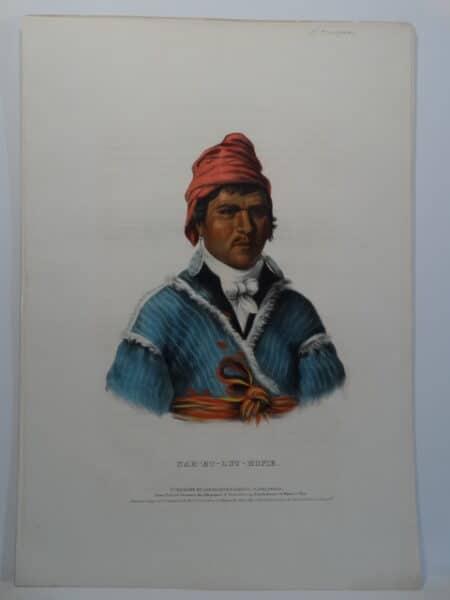 McKenney Hall NAH-ET-LUC-HOPIE. Antique hand colored lithograph.