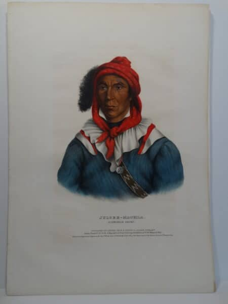 Hand-colored folio lithograph of Seminole Chief JULCEE-MATHLA from Tribes of North America, 1843.