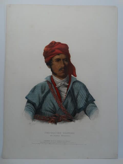 TIMPOOCHEE BARNARD is a 1838 hand colored lithograph of Uchee Chief & Warrior