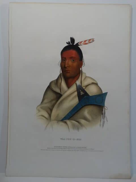 WAA-TOP-E-NOT is an 1843 folio McKenney Hall lithograph of Fox warrior in Indian blanket and war club.