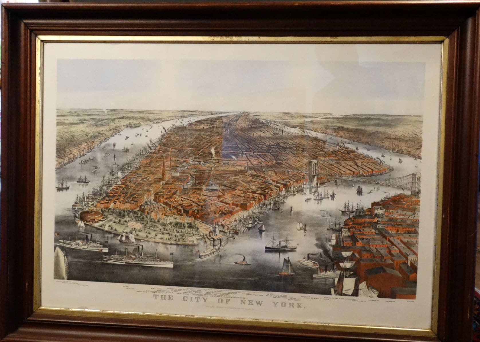John William Hill View of New York Hand=Colored Engraving from 1855 in period frame.