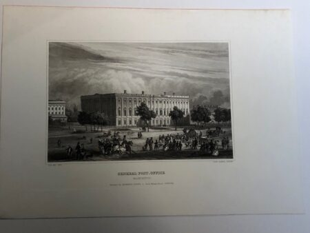 Washington District of Columbia US Post Office. Rare engraving 170 years old.