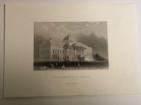 Rare engraving of the United States Capitol in Washington DC with the original dome c. 1850. Published Leizig for Panus Universum.