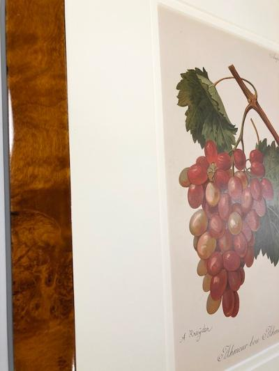 Professional archival picture framing on decorative wine prints that are about 120 years old.