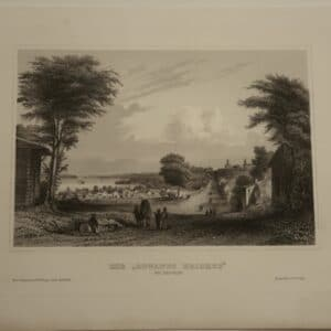 """Rare antique engraving, c.1850 Meyer's view of """"Gowanus Heights"""" in Brooklyn, NYC. $75. Get Free Shipping in America."""