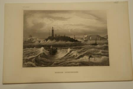 Image of the Boston Lighthouse depicted in the 1850's.