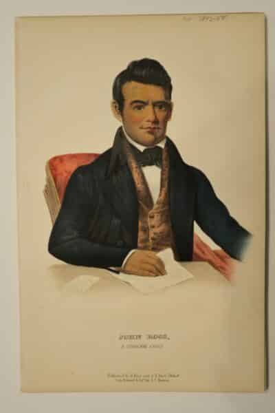 American Indian antique lithographs, by McKenney Hall, 1854-55, Joss Ross is in a suit writing the alphabet.