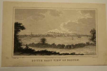 Image of an original engraving for sale, 1850 view of Historic Boston.