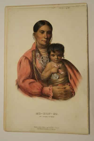 American Indian antique lithographs, by McKenney Hall, 1854-55, of Osage indian woman with beautiful child.