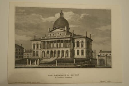 A wonderful antique engraving of Massachusetts Capitol, on Beacon Hill.