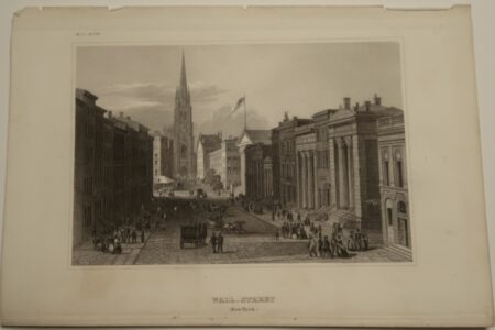 Meyers Engraving Wall Street published circa 1850, of Wall Street with many people outside and on the streets. The New York Stock Exchange is light by sunlight.