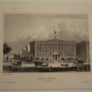 A rare, approximately 170 year old engraving of the (palace like) Astor House, New York City, with horses and carriages everywhere.