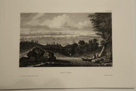 Strong strike, intense black in engraving. Rare view from above, of Lower and Mid Manhattan, in New York City. This piece is about 170 years old.