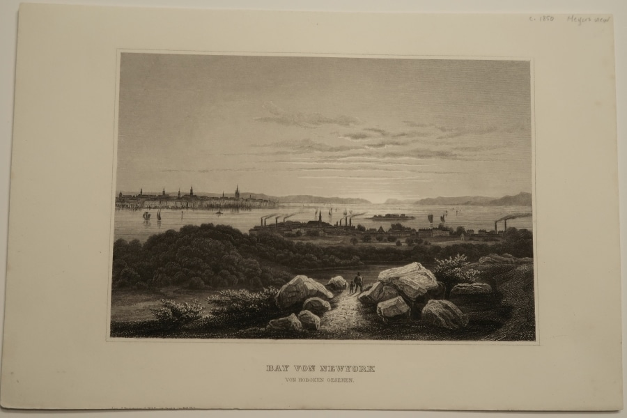 The Bay of NewYork from Hoboken, c.1850 engraving in excellent condition. View of Manhattan in the distance.