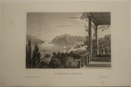 A nearly 170 year old antique engraving, of the Hudson River, from high altitude in Newburg. Meyer's view.
