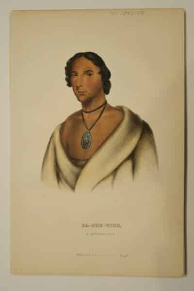 American Indian antique lithographs, by McKenney Hall, 1854-55, PA-SHE-NINE Chippewa Tribe Chief $125.