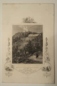 A delightful antique engraving, by J.F. Tallis, of the View of the Cattskill Mountain House, N.Y.
