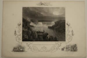 A distant view of the Falls of Niagara. c.1850 Talis trademark, scrollwork around the subject.