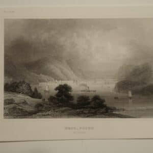West Point Hudson Engraving, is a highly detailed example of an 1850's copper plate engraving, with diverse tones printed in ink. Almost photographic like, scene of the Hudson River.