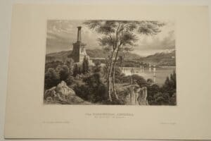 A beautiful antique engraving, c.1850, Meyer's Universum, ? of a memorial, in West-Point, Hudson River.