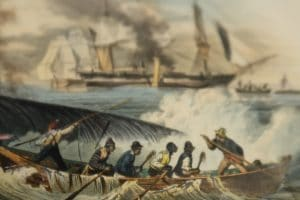 O1850's scene showing, antique engraving, of arsmen and whaleboats, spouting whale, whaleship.