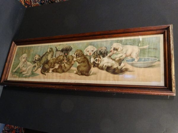 Yard of Puppies Antique Chromolithograph.  Yard long chromolithograph