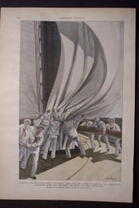 """Aboard the Cup-Defender """"Columbia"""": Drilling the Crew- Taking in the Spinnaker, Showing How the Hatches Are Used to Stow Away Sail, c.1900. $50."""