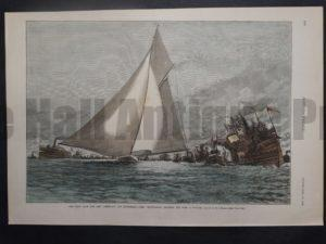 """The First Race for the """"America's"""" Cup, September 7 - The """"Mayflower"""" Crossing the Line a Winner, September 18, 1886. $60."""