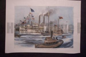 """The Coming Anglo-American Yacht-Race: Arrival of the """"Shamrock in New York Harbour, September 9,1899. $85."""