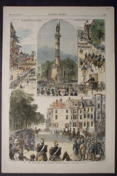 The Boston Army and Navy Monument, October 6, 1877. $60.