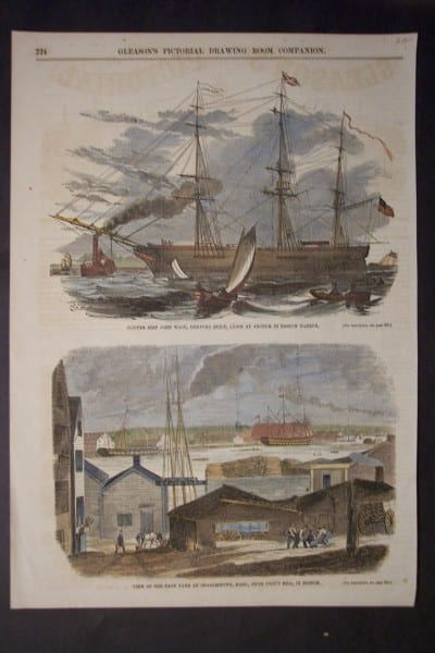 View of the Navy Yard at Charlestown, Mass, From Copp's Hill, in Boston, c.1856. $50.