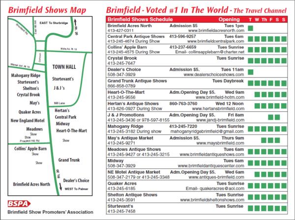 Brimfield 2019 Antique Shows Map