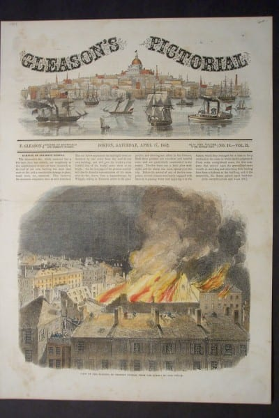 View of the Burning of Tremont Temple, from the Cupola of our Office, April 17, 1852. $60.