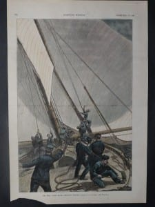 """The Trial Yacht Races - """"Changing the Topsails."""" September 4, 1886. $100."""
