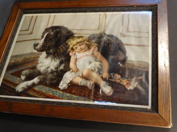 "Companions Framed Newfoundland Dog. Chromolithograph published by the Knapp Co. NY. 1884. 34"" x 26.5"""