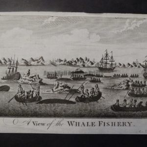 Whale Fishery Engraving, copper plate. 1810 5×8 1/2″ $125.