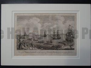 Whale Fishery, Rare Copper Engraving Matted, measures 11 x 16″ $300.