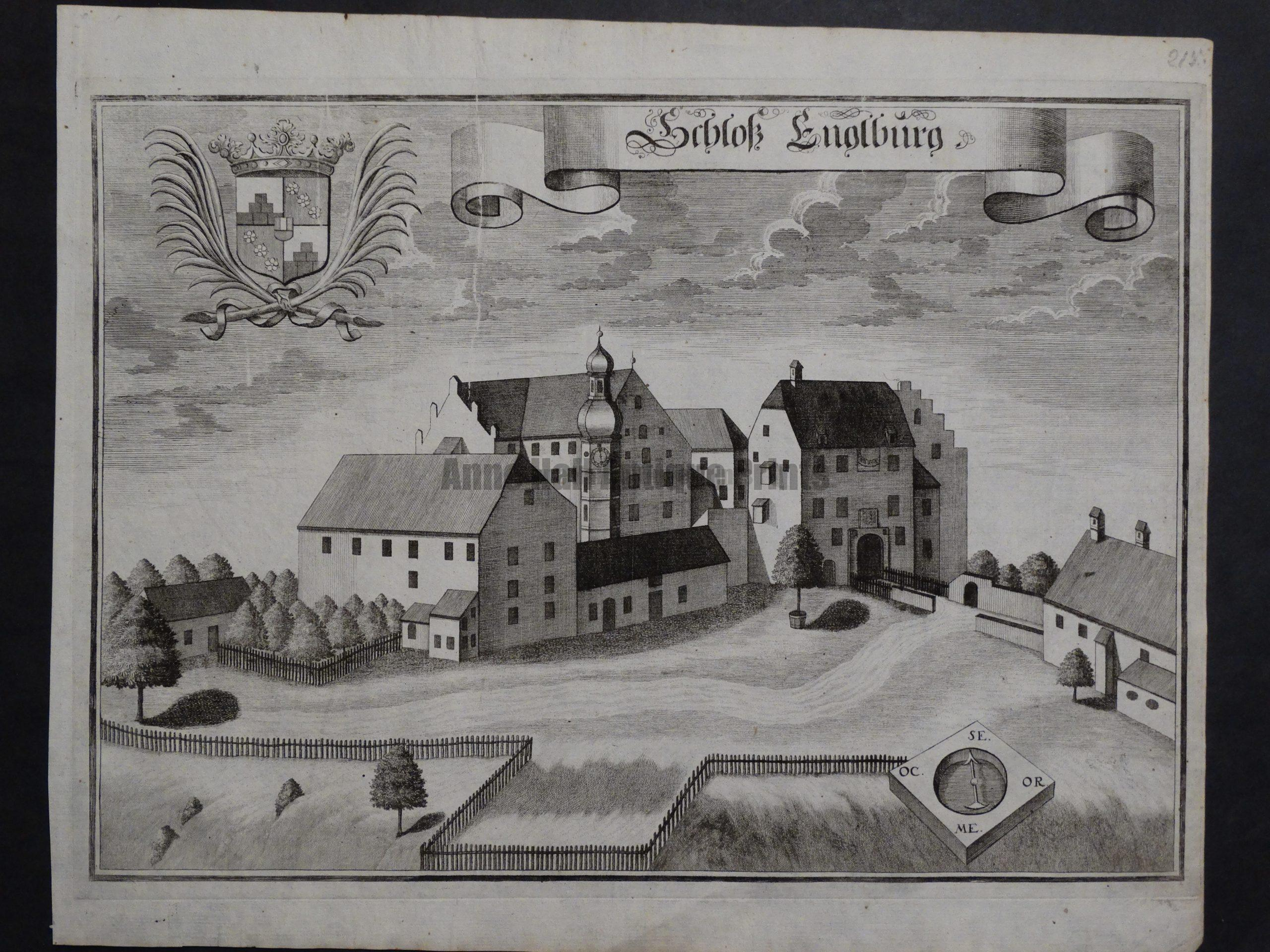 Werning Bavaria Rare Castle Engraving 1703(4). $300.