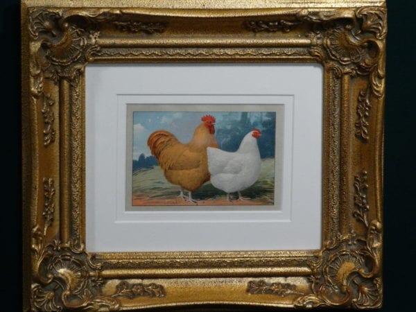Chickens Vintage Chromolithograph Framed