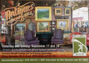 Adirondack Museum Antiques Show and Sale 9/17 - 9/18 9097 State Route 30, Blue Mountain Lake, NY 12812 AdirondackMuseum.org
