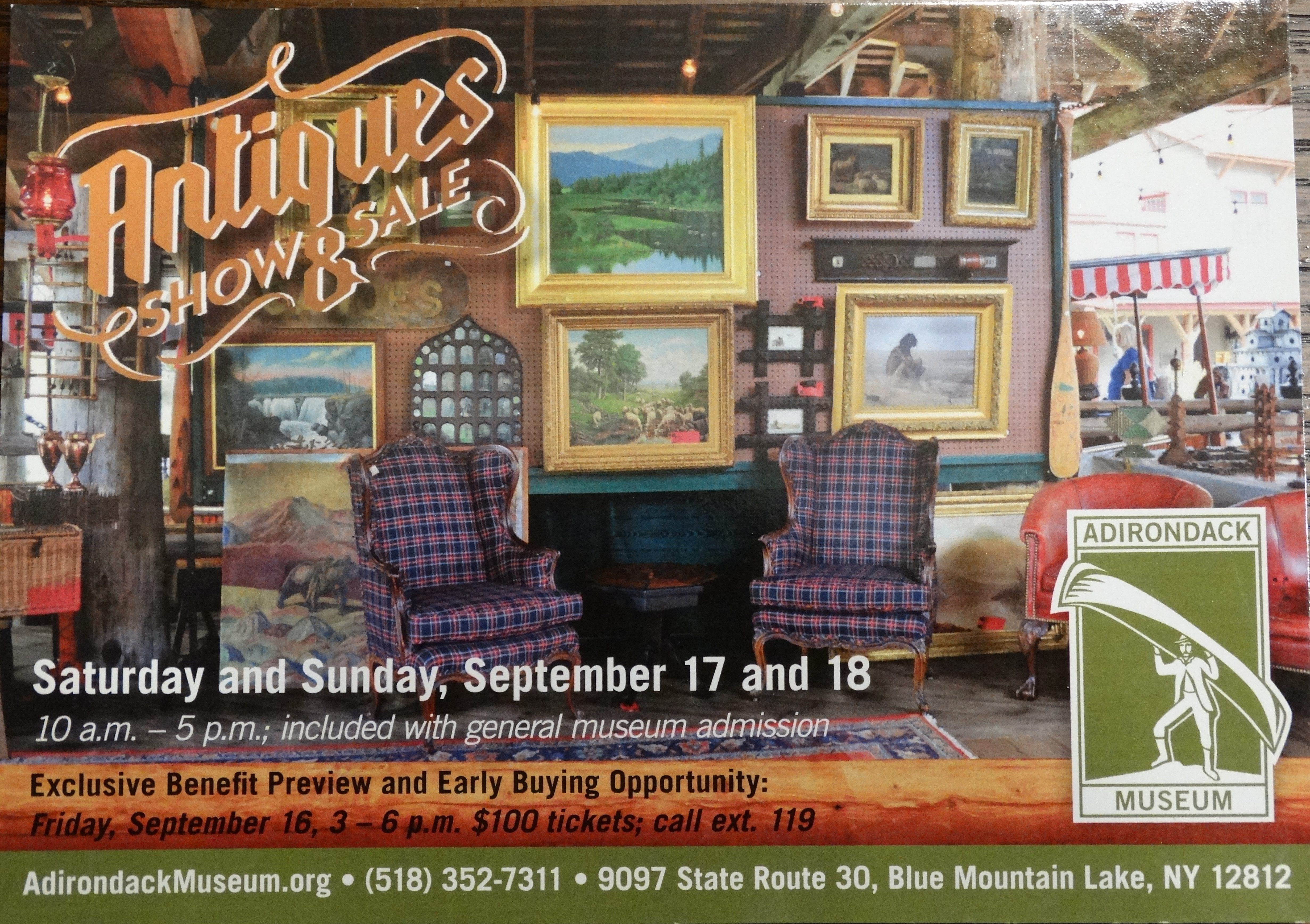 Adirondack Museum Antiques Show and Sale 9097 State Route 30, Blue Mountain Lake, NY 12812 AdirondackMuseum.org