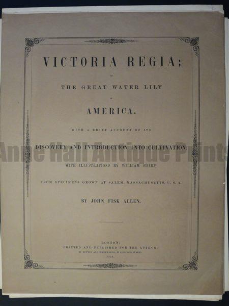 Cover Page Victoria Regia John Fisk Allen
